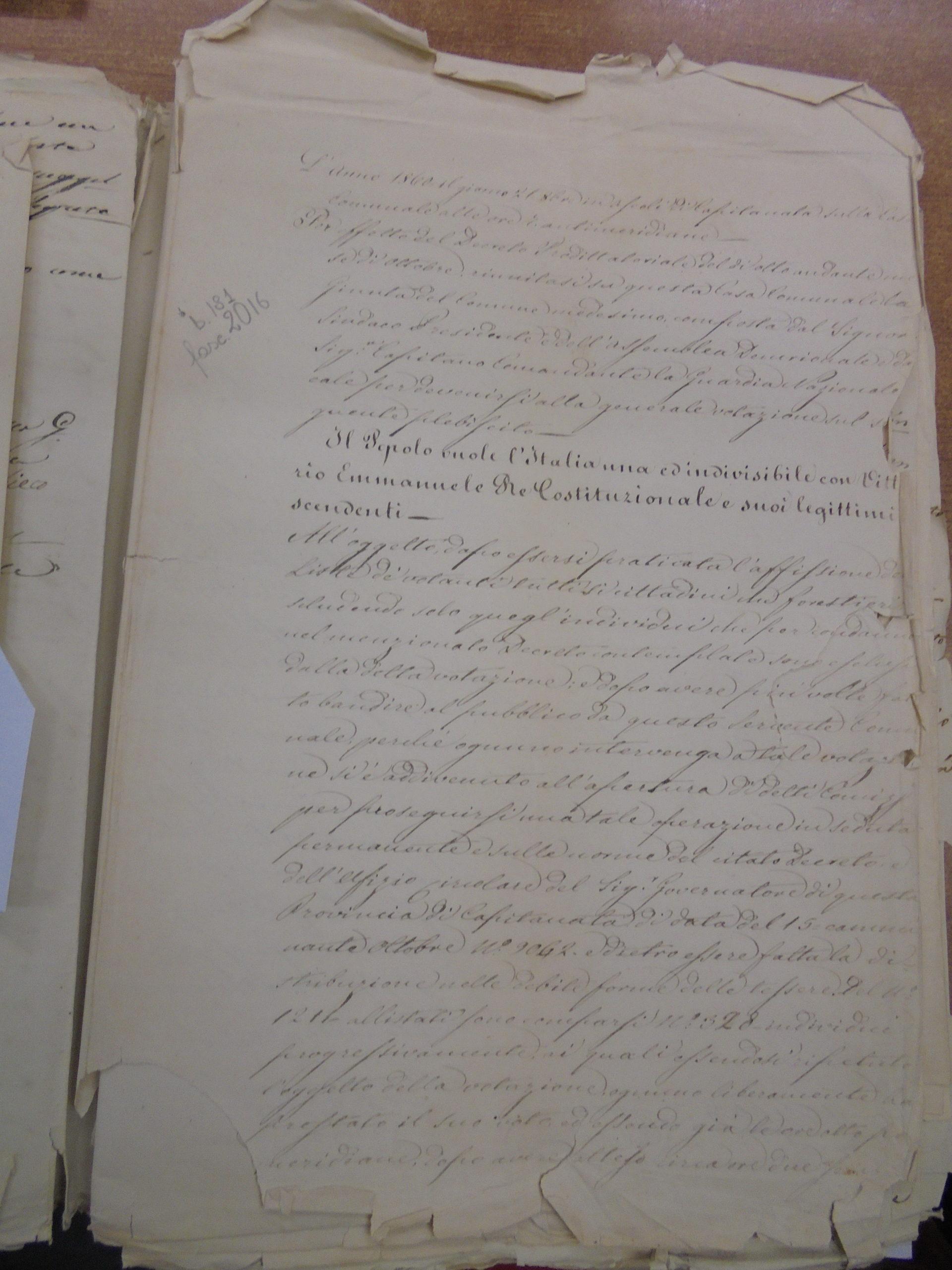 Il Plebiscito del 1860 a San Bartolomeo in Galdo